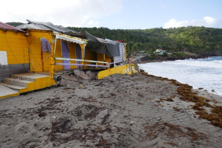 Windward beach on Terre de Bas with plenty of destruction from Irma and Mari.