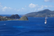 Our anchorage behind Pan de Sucre and across the bay Terre de Bas, where our tender blew off to.