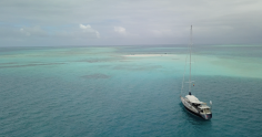 Anchored on the banks of Cayo Muerto to kite